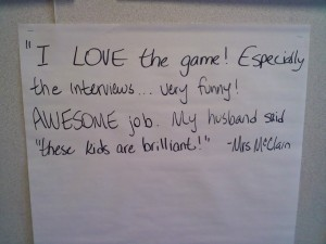 """Notice the husband's quote, """"These kids are brilliant!"""""""
